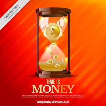 Orange background with hourglass and coins