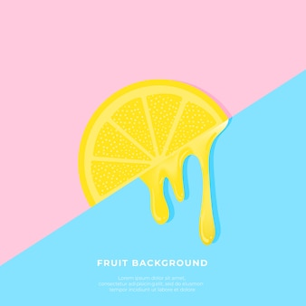 Orange background with juice dripping over blue and pink backgrounds