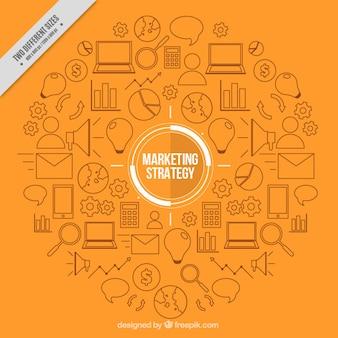 Orange background with marketing elements Free Vector