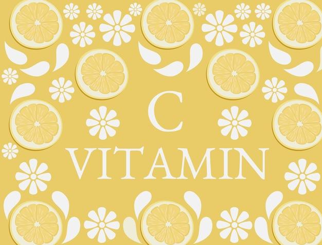 ビタミンcアイコンとして散在する柑橘系の果物とオレンジ色の背景