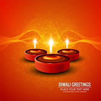 Orange background with three candles for diwali