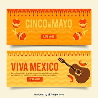 Оранжевые баннеры с музыкальными инструментами для cinco de mayo