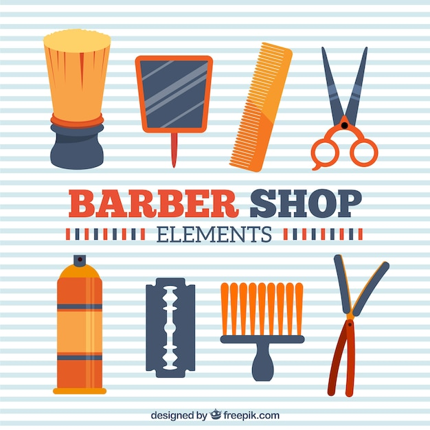 Orange barber shop elements