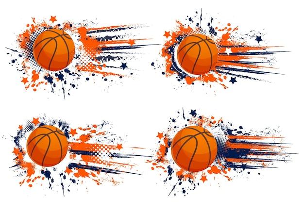 Orange basketball sport grunge banners