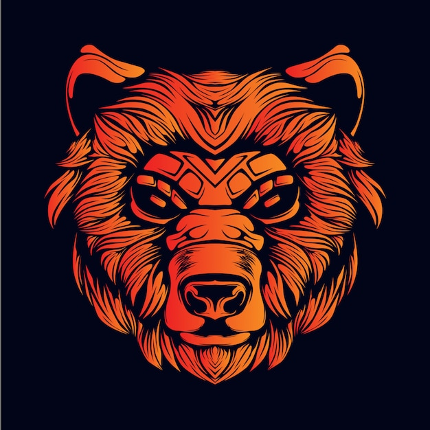 Orange bear head illustration