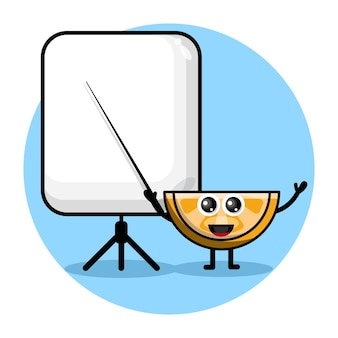 Orange becomes a teacher cute character logo