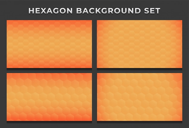 Orange bee hive hexagon hexagonal modern background pattern set