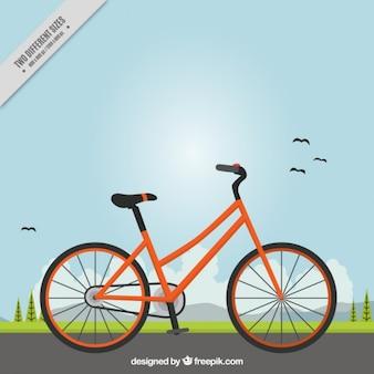 風景の背景にあるオレンジバイク