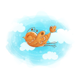 Orange bird flies through the sky with clouds.
