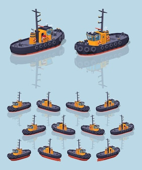 Orange and black 3d lowpoly isometric tugboat