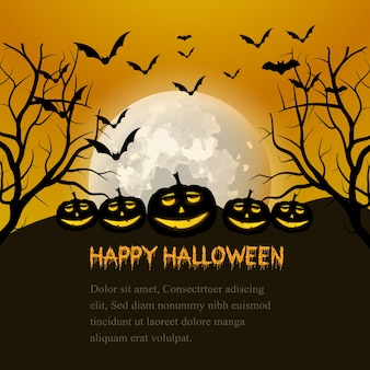 Orange and black background with pumpkins and bats for halloween