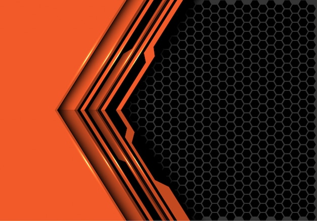 Orange black circuit arrow direction grey hexagon mesh background.