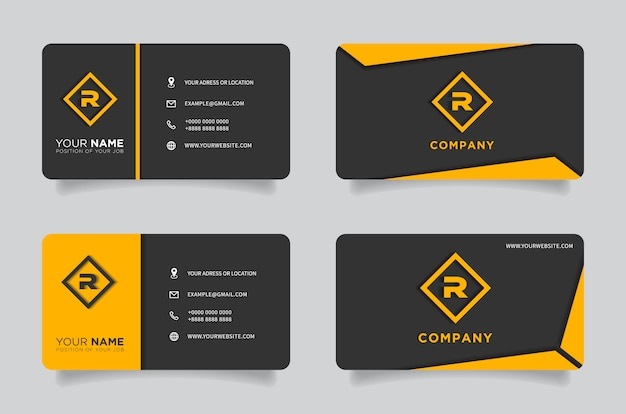 Orange and black dark modern creative business card and name card