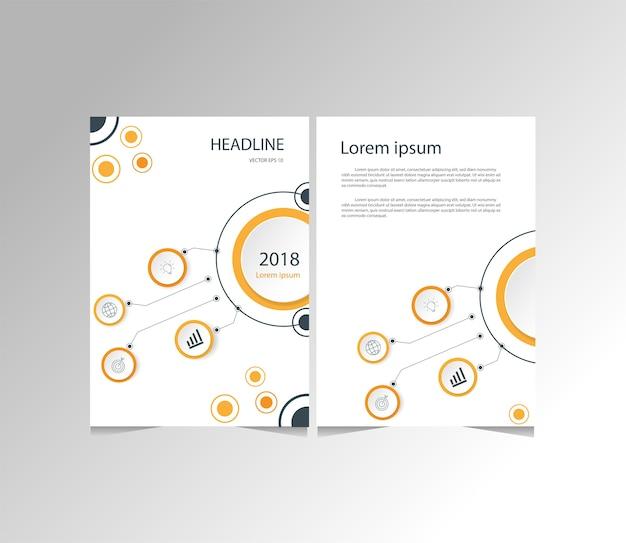 Orange and black modern business flyer, brochure, magazine size template