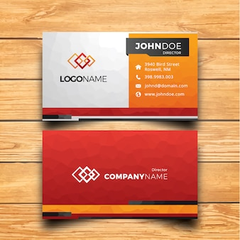Orange black and red business card