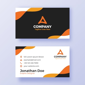 Orange and black simple business card template