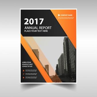 Orange black triangle bok cover template design