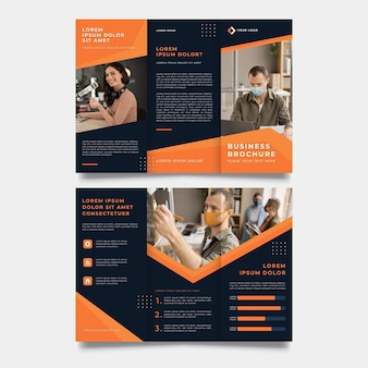 Orange and black trifold brochure print template