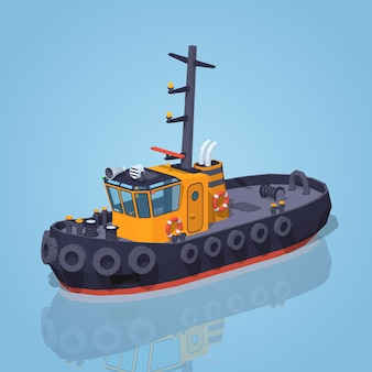 Orange and black tugboat