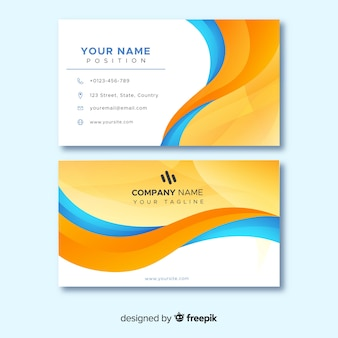 Orange and blue abstract lines for business card