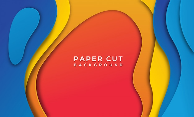 Orange blue abstract paper cut background