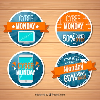 Orange and blue cyber monday labels