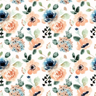 Orange blue floral watercolor seamless pattern