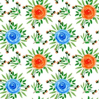 オレンジブルー花柄水彩シームレスパターン