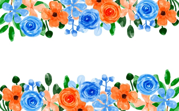Orange blue flower background with watercolor