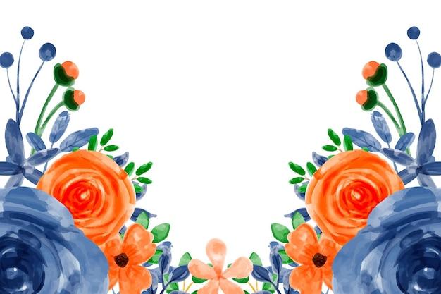 オレンジ色の青い花の背景と水彩