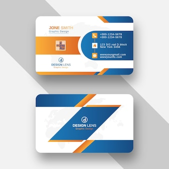 Orange and blue gradient style creative business card template