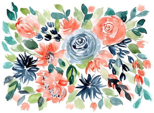 Orange blue green floral watercolor background
