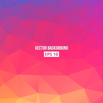 Orange, blue, purple, pink gradient. low poly, geometric background.