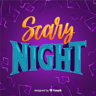 Orange and blue scary night lettering