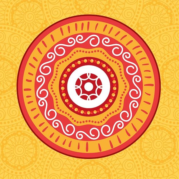 オレンジ色の自由奔放な曼荼羅