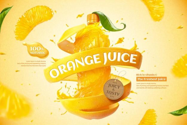3dイラストで液体と新鮮なパルプをはねかけるオレンジ色のボトルジュースの広告