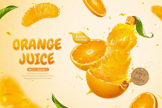 3dイラストで液体とスライスした果物をはねかけるオレンジ色のボトルジュースの広告