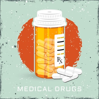 Orange bottle with medical drugs or can of pills vector colored illustration