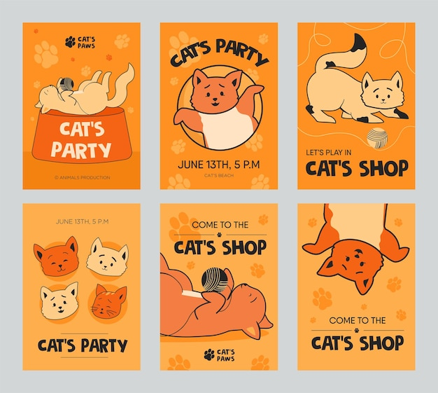 Orange brochure template set with funny kittens for shop or party. playful cats playing with clew.