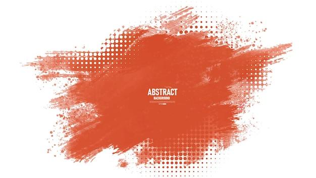 オレンジ色のブラシストローク水彩抽象
