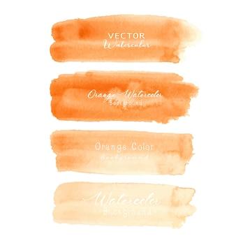 白い背景の上のオレンジ色のブラシストローク水彩画。