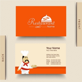 Оранжевый визитная карточка для итальянского ресторана
