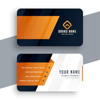 Orange business card modern template design