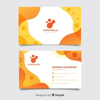Orange business card with abstract template
