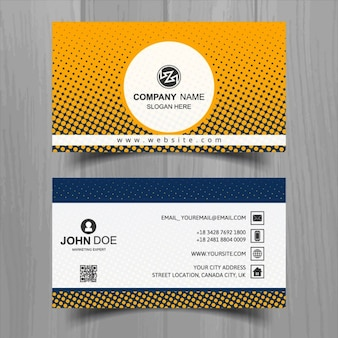 Orange business card with halftone dots