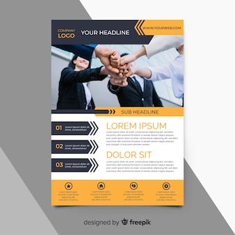 Orange business flyer template with photo