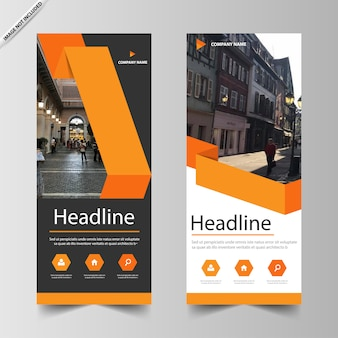 Orange business roll up banner template