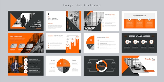 Orange business slides presentation template.