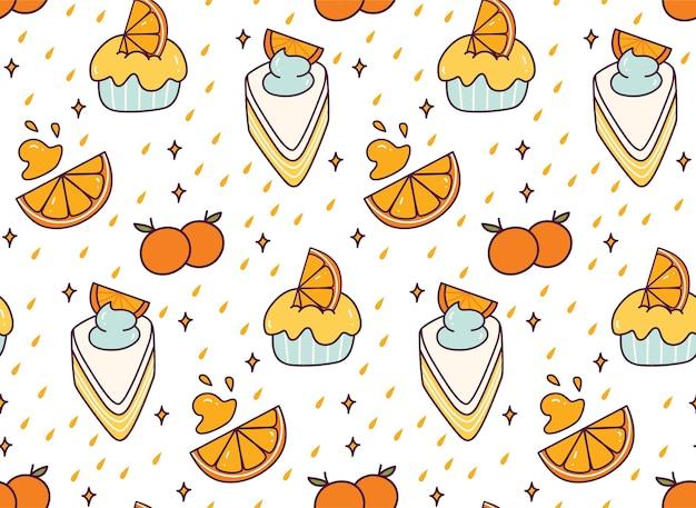 Оранжевый торт каракули бесшовный фон