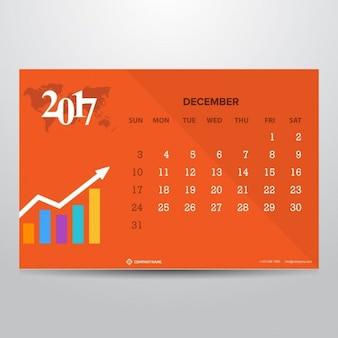 Оранжевый календарь на декабрь 2017 года
